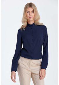 Niebieska bluzka z długim rękawem Nife z koszulowym kołnierzykiem, elegancka