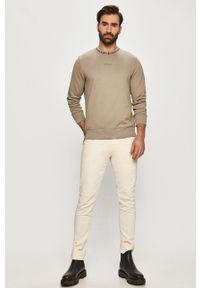 Calvin Klein Jeans - Bluza bawełniana. Okazja: na co dzień. Kolor: szary. Materiał: bawełna. Wzór: nadruk. Styl: casual