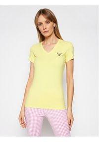 Guess T-Shirt Mini Triangle W1GI17 J1311 Żółty Slim Fit. Kolor: żółty