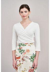 Marie Zélie - Spódnica Leto Silvestria kremowa. Kolor: kremowy. Materiał: bawełna, skóra, materiał, elastan