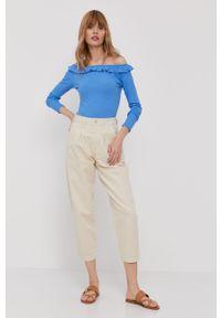 Niebieska bluzka Pepe Jeans gładkie, długa, z dekoltem typu hiszpanka