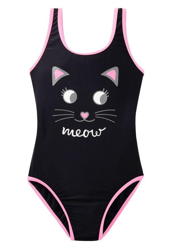 Kostium kąpielowy dziewczęcy bonprix czarno-jasnoróżowy. Kolor: czarny