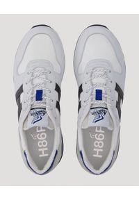 Hogan - HOGAN - Białe sneakersy z monogramem H383. Okazja: na co dzień. Nosek buta: okrągły. Kolor: biały. Materiał: tkanina, guma. Wzór: aplikacja