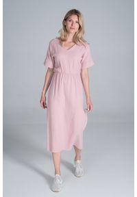 Figl - Bawełniana Długa Sukienka z Rozcięciem na Boku - Różowa. Kolor: różowy. Materiał: bawełna. Długość: maxi
