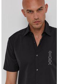Hugo - Koszula bawełniana. Typ kołnierza: kołnierzyk klasyczny. Kolor: czarny. Materiał: bawełna. Długość rękawa: krótki rękaw. Długość: krótkie. Styl: klasyczny