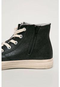 Czarne wysokie trampki Guess Jeans z okrągłym noskiem, z cholewką