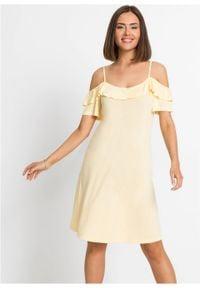 Sukienka cold-shoulder z dżerseju z falbanami bonprix kremowy żółty. Kolor: żółty. Materiał: jersey. Długość rękawa: krótki rękaw. Sezon: lato