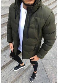 Brązowy płaszcz IVET na zimę, z kapturem