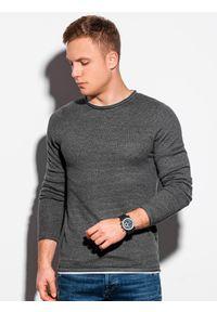 Ombre Clothing - Sweter męski E121 - grafitowy/melanżowy - XXL. Okazja: na co dzień. Kolor: szary. Materiał: bawełna. Wzór: melanż. Styl: casual, klasyczny, elegancki