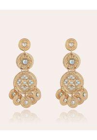 GAS BIJOUX - Trzyrzędowe kolczyki z kryształami. Materiał: złote. Kolor: złoty. Kamień szlachetny: kryształ