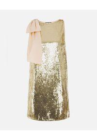 Złota sukienka mini Elisabetta Franchi kopertowa, z kokardą
