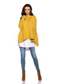 Lemoniade - Asymetryczny Musztardowy Sweter Ponczo z Warkoczem. Kolor: żółty. Materiał: wełna, akryl, poliester, moher