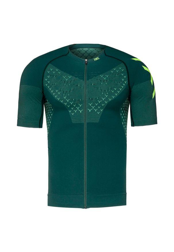 Zielona koszulka termoaktywna X-Bionic z krótkim rękawem, z asymetrycznym kołnierzem, rowerowa