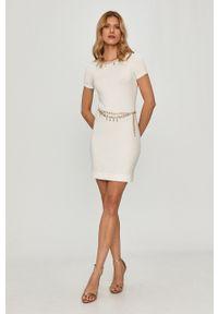 Biała sukienka Elisabetta Franchi z krótkim rękawem, dopasowana, mini, gładkie