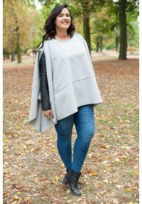 Szary kardigan Moda Size Plus Iwanek do kolan, z długim rękawem, na jesień