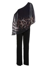 Kombinezon one-shoulder bonprix czarno-szary leo. Kolor: czarny