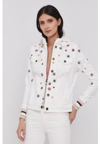 Biała kurtka Desigual z kapturem, z haftami, na co dzień