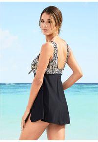 Sukienka kąpielowa bonprix czarno-brązowy we wzór skóry węża. Kolor: czarny. Materiał: skóra
