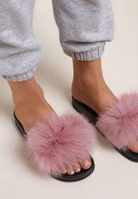 Renee - Różowe Klapki Phrilia. Nosek buta: otwarty. Kolor: różowy. Materiał: jeans, koronka, futro, guma. Wzór: koronka, aplikacja. Sezon: lato