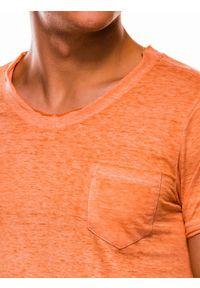 Ombre Clothing - T-shirt męski bez nadruku S1051 - pomarańczowy - XXL. Kolor: pomarańczowy. Materiał: bawełna, poliester