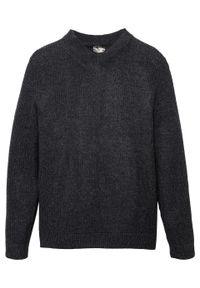 Sweter z dekoltem w serek bonprix antracytowy melanż. Typ kołnierza: dekolt w serek. Kolor: szary. Wzór: melanż