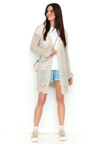 Beżowy długi sweter Makadamia w ażurowe wzory