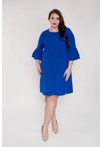 Niebieska sukienka dla puszystych Moda Size Plus Iwanek elegancka, plus size