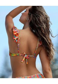 DEL MAAR - Top od bikini Khuyay. Kolor: czerwony. Materiał: materiał. Wzór: kolorowy