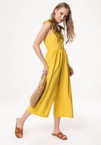 Born2be - Żółty Kombinezon Long-Lived. Okazja: na co dzień, na randkę. Kolor: żółty. Długość rękawa: na ramiączkach. Długość: długie. Styl: casual