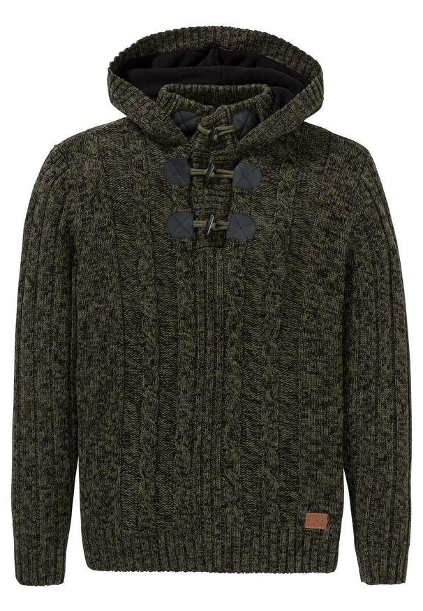 Zielony sweter bonprix z kapturem, melanż