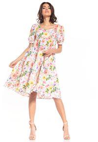 Tessita - Sukienka Midi z Falbanką we Wzory - Wielokolorowe Kwiaty. Kolor: wielokolorowy. Materiał: bawełna. Wzór: kwiaty. Długość: midi