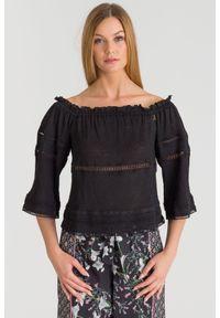 Czarna bluzka Patrizia Pepe w ażurowe wzory, rockowa