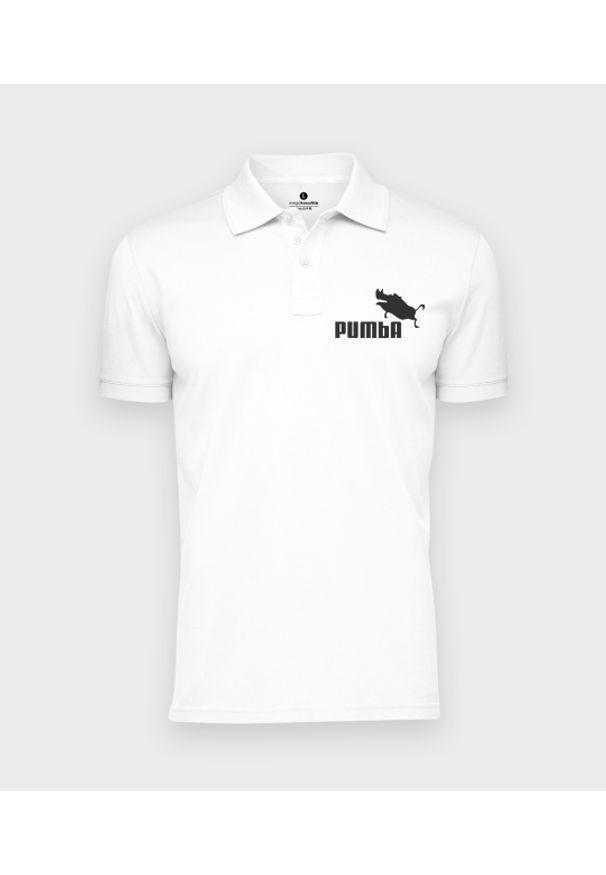 MegaKoszulki - Koszulka polo męska Pumba. Typ kołnierza: polo. Materiał: bawełna. Wzór: ze splotem