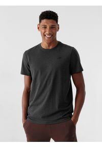 4f - T-shirt basic regular gładki męski. Kolor: szary. Materiał: dzianina. Wzór: gładki