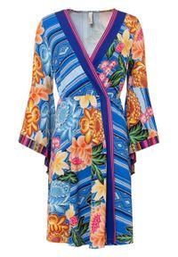 Sukienka z atrakcyjnym nadrukiem bonprix ciemnoniebiesko-niebiesko-kremowy limonkowy-jasnoróżowy w kwiaty. Kolor: niebieski. Wzór: nadruk, kwiaty