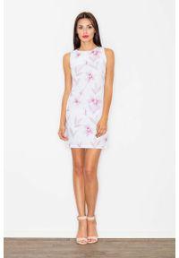 Różowa sukienka wizytowa Figl w kwiaty