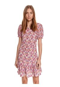 Różowa sukienka TOP SECRET w kwiaty, koszulowa