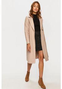 Beżowy płaszcz only klasyczny, bez kaptura, na co dzień