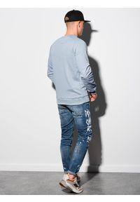 Ombre Clothing - Bluza męska bez kaptura B1151 - jasnoniebieska - XXL. Typ kołnierza: bez kaptura. Kolor: niebieski. Materiał: tkanina, dzianina, poliester, jeans, materiał, bawełna
