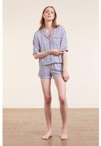 Etam - Koszula piżamowa EDEL. Kolor: fioletowy. Materiał: tkanina. Długość rękawa: krótki rękaw. Długość: krótkie