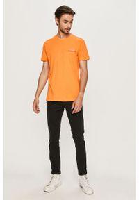 Pomarańczowy t-shirt EA7 Emporio Armani z okrągłym kołnierzem, na co dzień