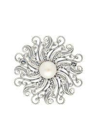 Polcarat Design - Broszka z białą perłą B 171. Materiał: srebrne. Kolor: biały. Wzór: aplikacja. Kamień szlachetny: perła