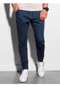 Ombre Clothing - Spodnie męskie joggery P885 - granatowe - XXL. Kolor: niebieski. Materiał: bawełna, elastan. Styl: klasyczny