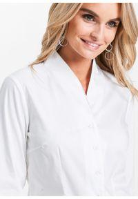 Bluzka ze stójką bonprix biały. Typ kołnierza: kołnierzyk stójkowy. Kolor: biały