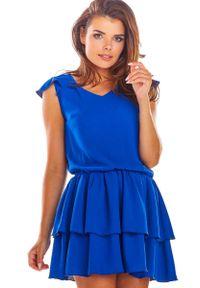 Niebieska sukienka wizytowa Awama na lato, z falbankami