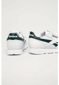 Białe sneakersy Reebok Classic z okrągłym noskiem, z cholewką