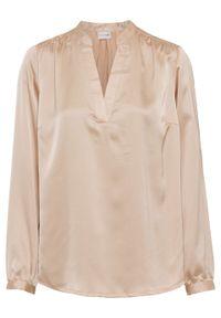 Beżowa bluzka bonprix z kołnierzem typu henley
