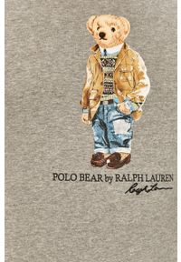 Polo Ralph Lauren - Longsleeve. Typ kołnierza: polo. Kolor: szary. Długość rękawa: długi rękaw. Wzór: nadruk