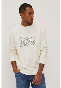 Lee - Bluza bawełniana. Kolor: beżowy. Materiał: bawełna. Wzór: nadruk