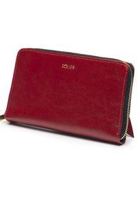 Czerwony portfel Solier w kolorowe wzory